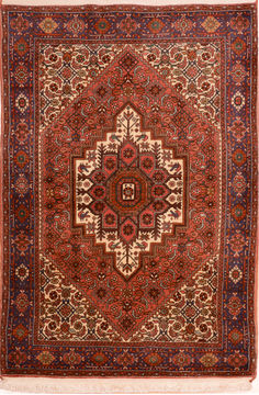 Persian Gholtogh Red Rectangle 3x5 ft Wool Carpet 74899