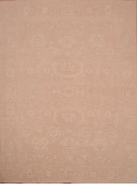 Afghan Chobi Beige Rectangle 9x12 ft Wool Carpet 75031