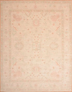 Afghan Chobi Beige Rectangle 9x12 ft Wool Carpet 75035