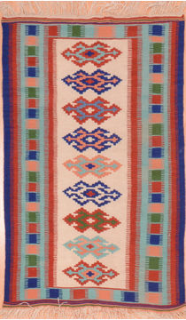 Afghan Kilim Multicolor Rectangle 2x4 ft Wool Carpet 75106