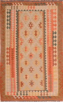 "Kilim Brown Hand Knotted 4'3"" X 6'10""  Area Rug 100-75127"