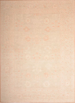 Afghan Chobi Beige Rectangle 9x12 ft Wool Carpet 75165