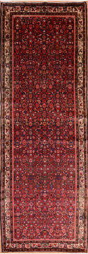 Persian Hossein Abad Red Runner 10 to 12 ft Wool Carpet 75188