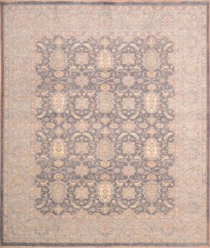 Pakistani Chobi Blue Rectangle 8x10 ft Wool Carpet 75226
