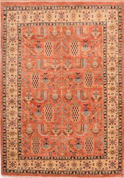 Pakistani Chobi Orange Rectangle 4x6 ft Wool Carpet 75237