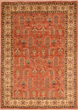 Pakistani Chobi Orange Rectangle 4x6 ft Wool Carpet 75253