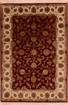 Indian Jaipur Red Rectangle 4x6 ft wool and silk Carpet 75275