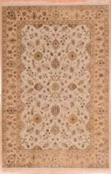 Indian Jaipur Beige Rectangle 4x6 ft wool and raised silk Carpet 75277
