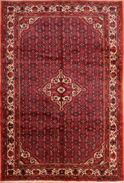 "Hamedan Red Hand Knotted 6'11"" X 10'0""  Area Rug 100-75311"