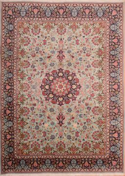 "Yazd Beige Hand Knotted 8'0"" X 11'2""  Area Rug 100-75372"