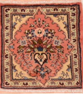 "Sarouk Beige Square Hand Knotted 1'9"" X 1'10""  Area Rug 100-75388"