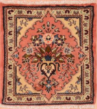 "Sarouk Beige Square Hand Knotted 1'9"" X 1'9""  Area Rug 100-75395"
