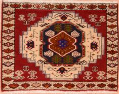"Sarouk Red Square Hand Knotted 1'7"" X 2'1""  Area Rug 100-75397"