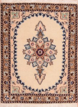"Nain Beige Square Hand Knotted 1'10"" X 2'5""  Area Rug 100-75403"