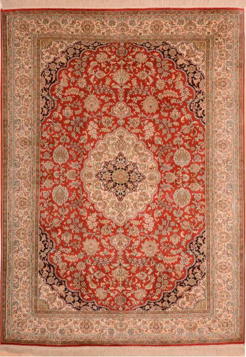 Indian Kashmir Beige Rectangle 4x6 Ft Silk Carpet 75455