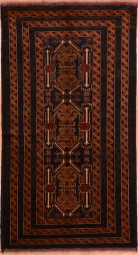 "Baluch Blue Runner Hand Knotted 3'6"" X 6'7""  Area Rug 100-75458"