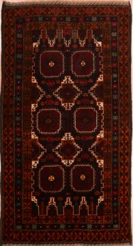 Persian Baluch Black Rectangle 4x6 ft Wool Carpet 75460