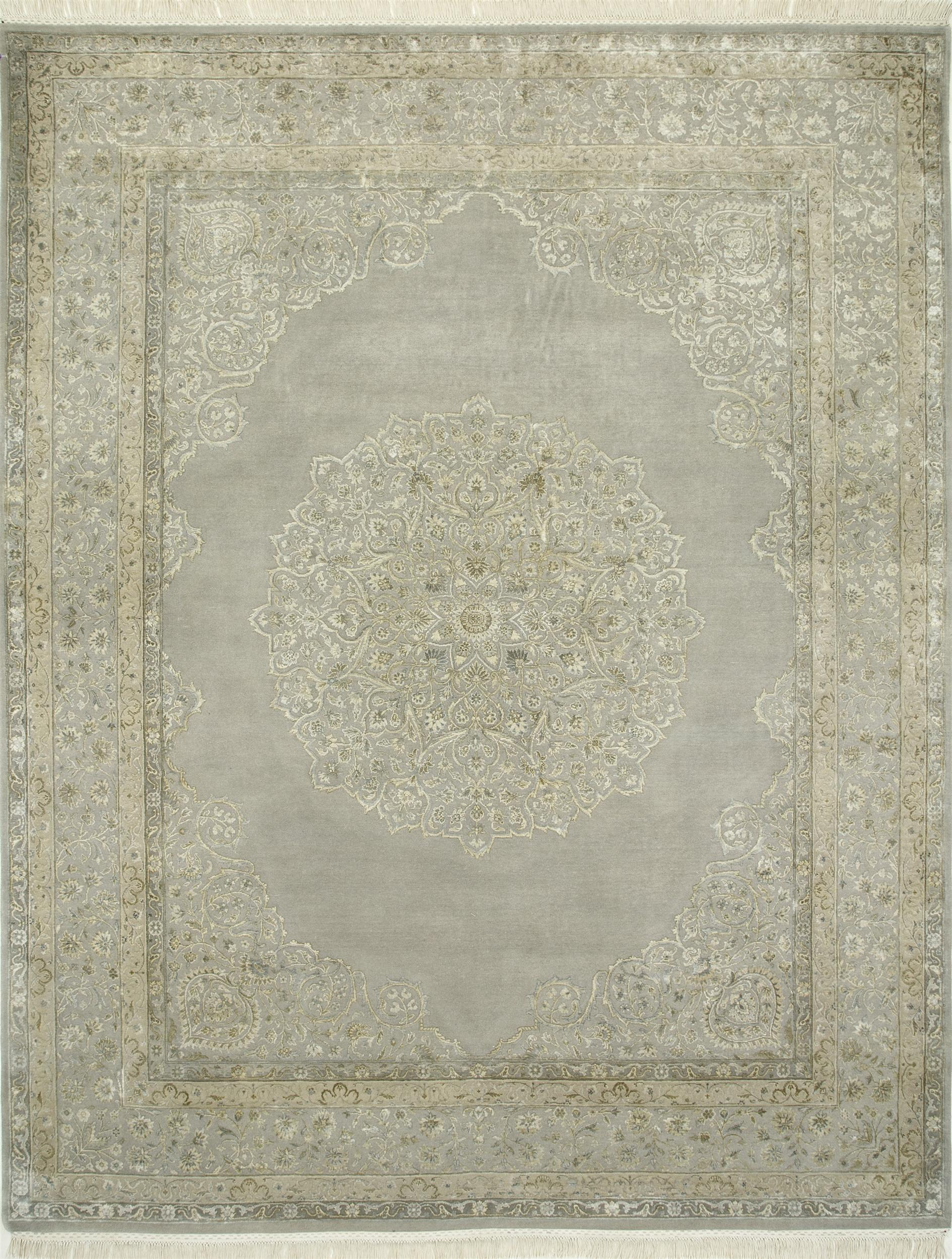 10 Foot Square Rug Part - 48: Indian Jaipur Grey Rectangle 3x5 Ft Wool And Silk Carpet 75469