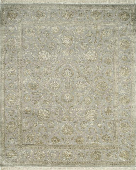 Indian Jaipur Grey Rectangle 10x14 Ft Wool And Silk Carpet