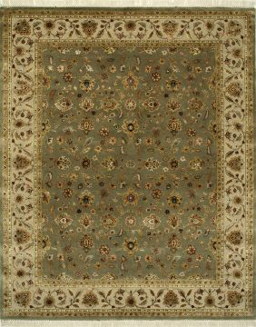 Indian Jaipur Green Rectangle 9x12 ft wool and silk Carpet 75481
