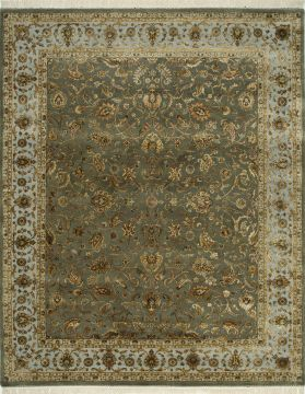 Indian Jaipur Green Rectangle 10x14 ft wool and silk Carpet 75491