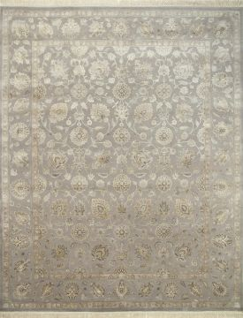 Indian Jaipur Grey Rectangle 13x20 ft and Larger wool and silk Carpet 75510