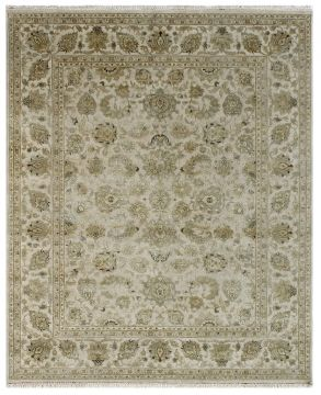 Indian Jaipur White Rectangle 13x20 ft and Larger wool and silk Carpet 75512
