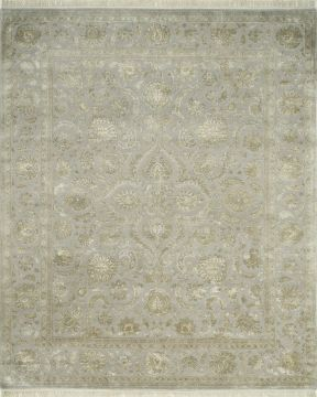 Indian Jaipur Grey Rectangle 13x20 ft and Larger wool and silk Carpet 75513