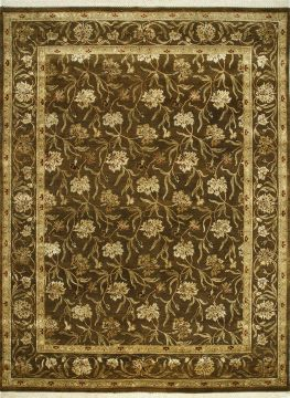 Indian Jaipur Brown Rectangle 9x12 ft wool and silk Carpet 75520