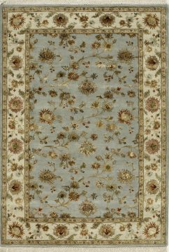 Indian Jaipur Blue Rectangle 9x12 ft wool and silk Carpet 75521