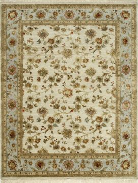 Indian Jaipur White Rectangle 9x12 ft wool and silk Carpet 75531