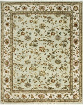 Indian Jaipur Green Rectangle 9x12 ft wool and silk Carpet 75538