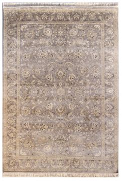 Indian Jaipur Grey Rectangle 6x9 ft silk Carpet 75572