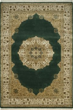 Indian Jaipur Green Rectangle 8x10 ft wool and silk Carpet 75584