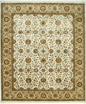 Indian Jaipur White Rectangle 6x9 ft silk Carpet 75613