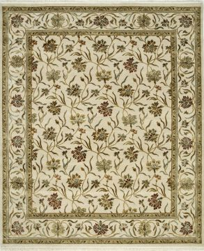 Indian Jaipur White Rectangle 8x10 ft wool and silk Carpet 75615