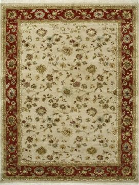 Indian Jaipur Beige Rectangle 8x10 ft wool and silk Carpet 75618