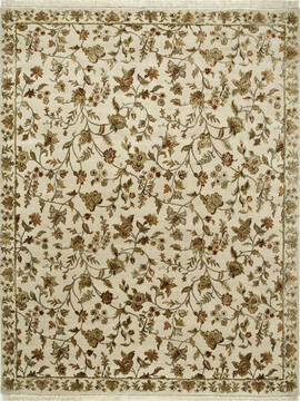 Indian Jaipur White Rectangle 8x10 ft wool and silk Carpet 75621