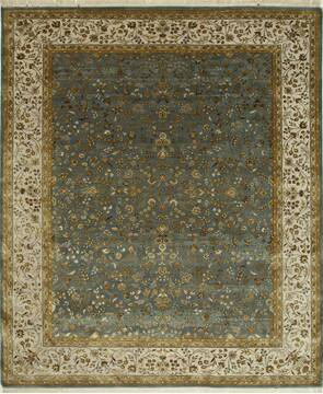 Indian Jaipur Blue Rectangle 8x10 ft wool and silk Carpet 75639