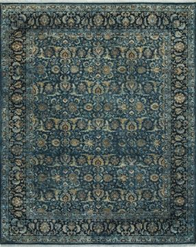 Indian Jaipur Blue Rectangle 8x10 ft wool and silk Carpet 75674