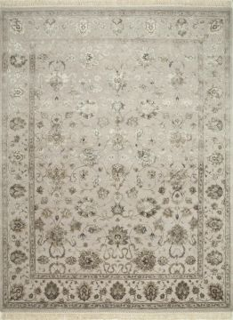 Indian Jaipur White Rectangle 8x10 ft wool and silk Carpet 75675