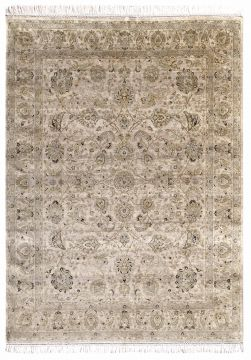Indian Jaipur Beige Rectangle 6x9 ft silk Carpet 75689