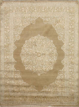 Indian Jaipur Brown Rectangle 8x10 ft Wool and Silk Carpet 75692