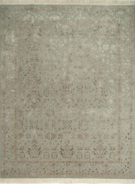Indian Jaipur Grey Rectangle 8x10 ft wool and silk Carpet 75694