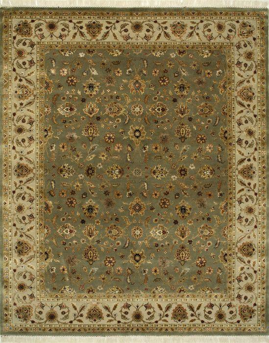 Indian Jaipur Green Rectangle 7x10 Ft Wool And Silk Carpet