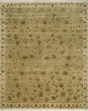 Indian Jaipur Green Rectangle 8x10 ft wool and silk Carpet 75703