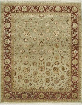 Indian Jaipur Green Rectangle 8x10 ft wool and silk Carpet 75705