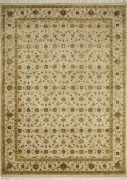 Indian Jaipur Beige Rectangle 8x10 ft wool and silk Carpet 75707