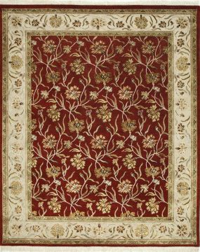 Indian Jaipur Red Rectangle 8x10 ft wool and silk Carpet 75708