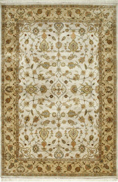 Indian Jaipur White Rectangle 6x9 ft silk Carpet 75722